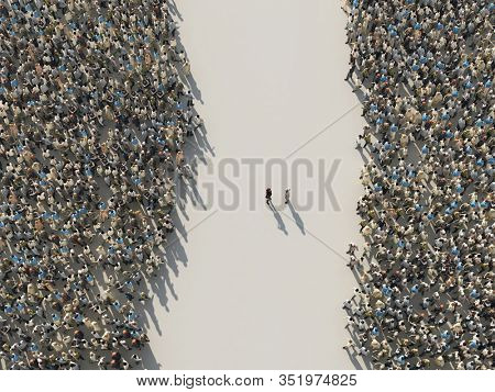two opposition groups of people, 3d illustration