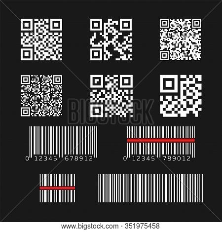 Qr Code And Bar Code Set. Quick Response Code Technology And Barcode Technology