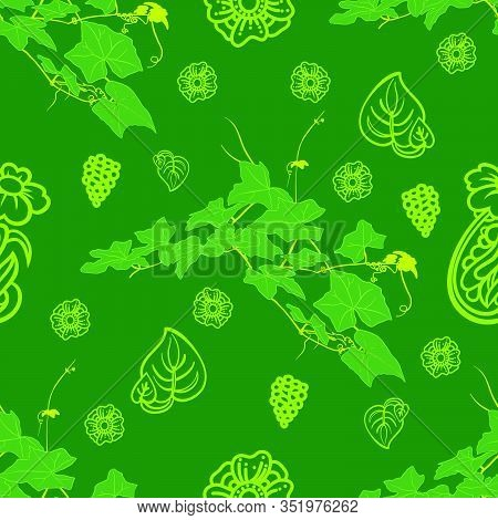 Vine And Flower Seamless Pattern Of Green Colors Tone Foliage Natural Branches, Green Leaves. Hand D