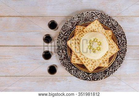 Passover Pesah Holiday Celebration, Matza Unleavened Bread And Four Cup Kosher Wine, Jewish