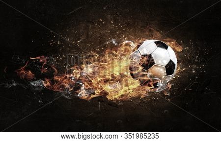 Soccer Ball on Fire . Mixed media