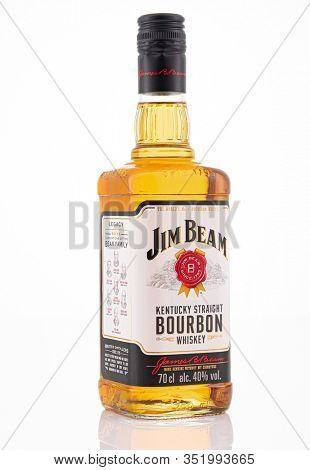 Berlin - JAN 15, 2020: Jim Beam is a brand of bourbon whiskey  on store shelf in Berlin. Jim Beam is a brand of bourbon whiskey produced in Clermont, Kentucky, by Beam Suntory.
