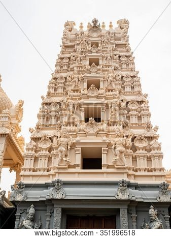 Image Of Beautiful Stone Carving On The Roof Of Hindu Temple