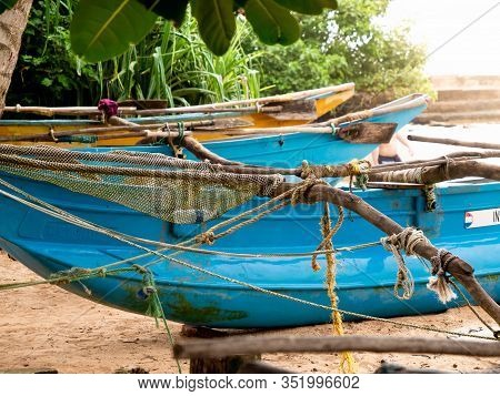 Closeup Image Of Fishing Nets And Ropes In Old Wooden Fishing Boat Of Sri Lanka