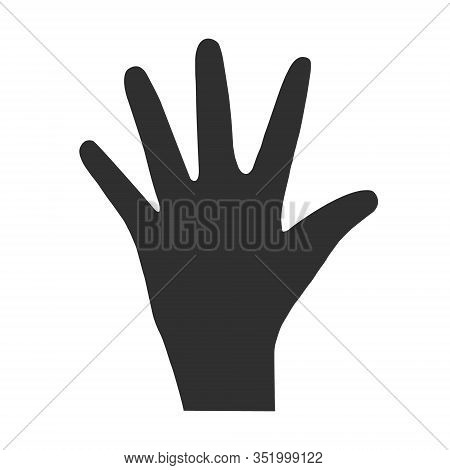 Hand Palm Silhouette. Vector Flat Illustration Of A Hand With Five Fingers. Black Silhouette Of A Ha