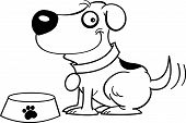 Black and white illustration of a dog with a dog dish poster