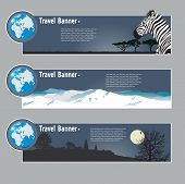 Travel banners: landscapes of the miscellaneous continent poster