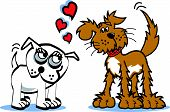 Two Dogs, One Bulldog and One Mutt in Love with Hearts on Valentines Day poster