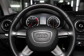 Novosibirsk, Russia -  February 12, 2020:  Audi A3, Dashboard, Player, Steering Wheel With Logo And
