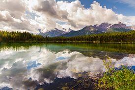The Rockies. Herbert Lake And Bow Range. Banff National Park In Alberta, Canada