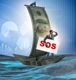 Businessman asking for help with SOS message on boat