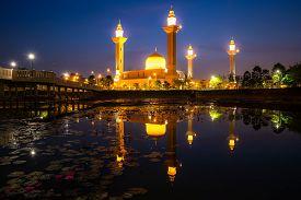 Morning Sunrise Sky Of Masjid Bukit Jelutong In Shah Alam Near Kuala Lumpur, Malaysia. Also Known As