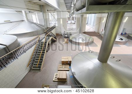 MOSCOW - MAY 31: Reservoirs for beer in Ochakovo factory, May 31, 2012, Moscow, Russia. Ochakovo company produces beer, brew, alcoholic, non-alcoholic beverages, drinking, mineral water, wine, vodka.