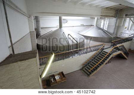 MOSCOW - MAY 31: Big reservoirs in Ochakovo factory, May 31, 2012, Moscow, Russia. Ochakovo company produces beer, brew, alcoholic and non-alcoholic beverages, drinking and mineral water, wine, vodka.