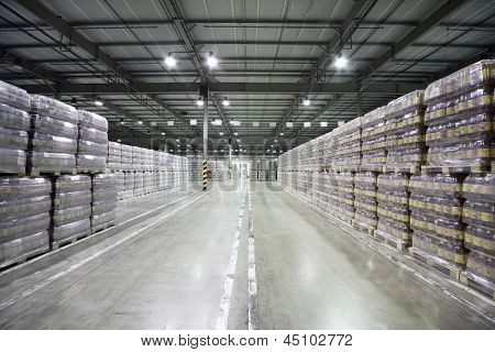 MOSCOW - MAY 31: Lot of packaged beer in warehouse in Ochakovo factory, on May 31, 2012 in Moscow, Russia. Ochakovo company was founded in 1978.