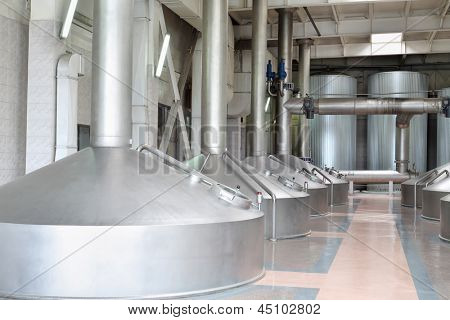 MOSCOW - MAY 31: Large beer basins in Ochakovo factory, on May 31, 2012 in Moscow, Russia. Ochakovo company has 18 enterprises.