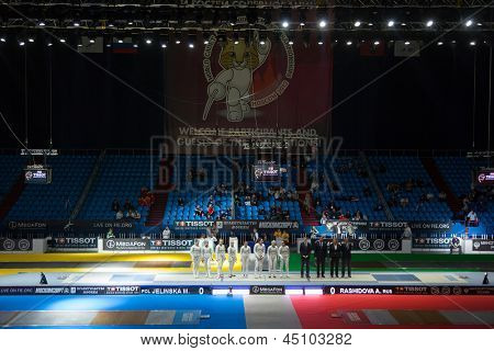 MOSCOW - APR 6: Presentation of competitors on championship of world in fencing among juniors and cadets, in Sports Olympic complex, on April 6, 2012 in Moscow, Russia