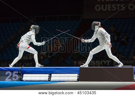 MOSCOW - APR 6: Start of fight on championship of world in fencing among juniors and cadets, in Sports complex, on April 6, 2012 in Moscow, Russia