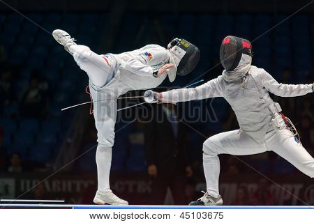 MOSCOW - APR 6: Thrilling battle on championship of world in fencing among juniors and cadets, in Sports Olympic complex, on April 6, 2012 in Moscow, Russia