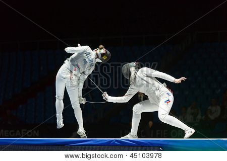 MOSCOW - APR 6: Neat trick of one of the athletes on championship of world in fencing among juniors and cadets, in Sports Olympic complex, on April 6, 2012 in Moscow, Russia