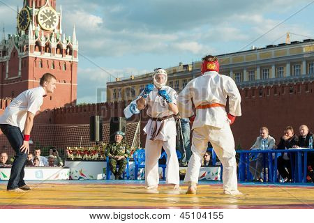 MOSCOW - MAY 26: Kudo fighters prepare for battle on VIII Forum Ready for Labor and Defense on May 26, 2012 in Red Square, Moscow, Russia.