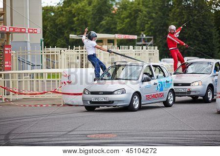 MOSCOW - JUN 30: Demonstrative performance of members from stuntmen team Avtorodeo Togliatti Trick during Speedfest at Olympic complex Luzhniki, June 30, 2012, Moscow, Russia.