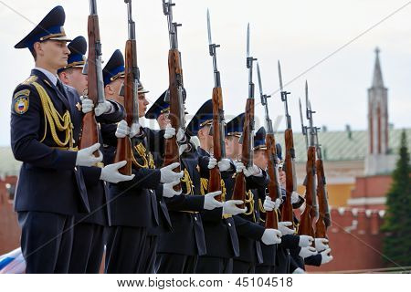 MOSCOW - MAY 27: Cadets of Presidential Regiment on Red Square during 8-th sports forum GTO, May 27, 2012, Moscow, Russia.