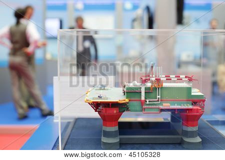 MOSCOW - MAY 23: Model of offshore oil base at Russia Marine Industry Conference 2012 in Gostiny Dvor, on May 23, 2012 in Moscow, Russia.