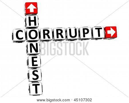 3D Honest Corrupt Crossword