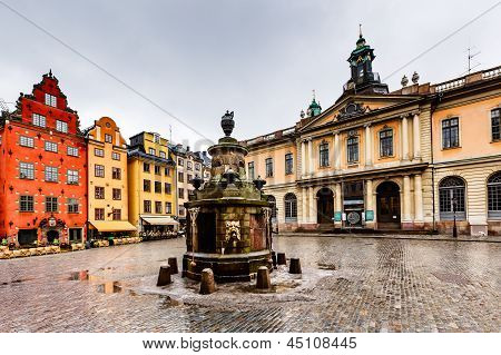 Stortorget In Old City (gamla Stan), The Oldest Square In Stockholm, Sweden