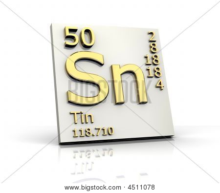 Tin form Periodic Table of Elements - 3d made poster