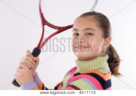 Adorable student girl with racket of tennis poster