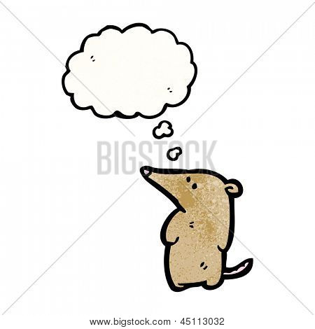 cute cartoon shrew with thought bubble poster