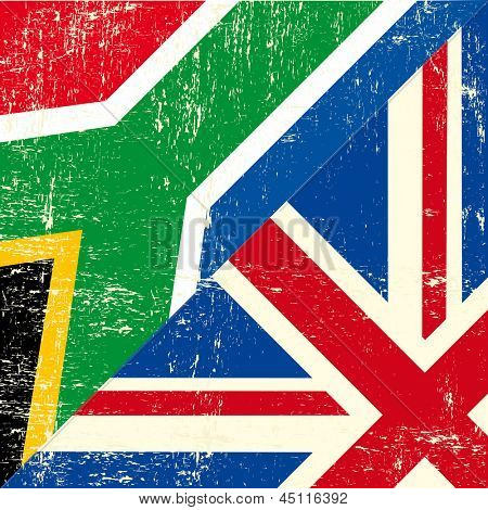 English and south african grunge Flag. this flag represents the relationship  between UK union and South Africa