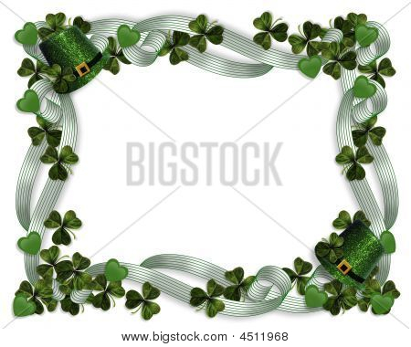 St Patricks Day Border Hearts Hats Ribbons