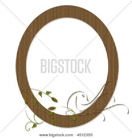 Cardboard Oval Frame With Floral And Bird
