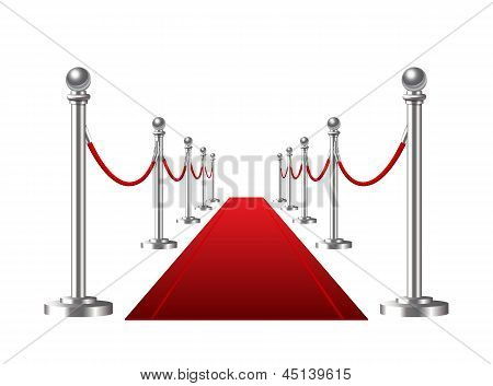 Red event carpet isolated on a white background. Vector illustration poster