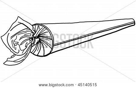 Vector Illustration of Rolled Marijuana Drug Joint Cigarette