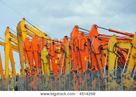 A Colorful Display Of Construction Equipment