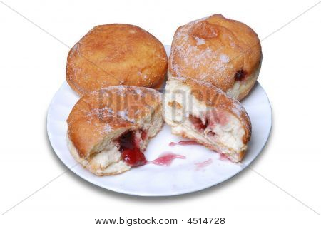 Jam Doughnuts On A Plate