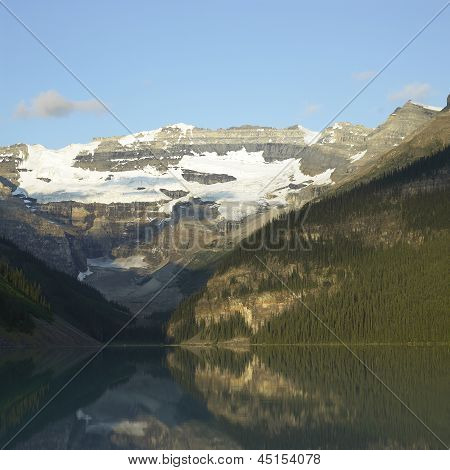 Lake, Mountains And Snow Caps