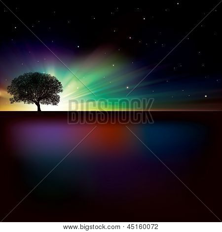 Abstract Background With Sunrise And Tree