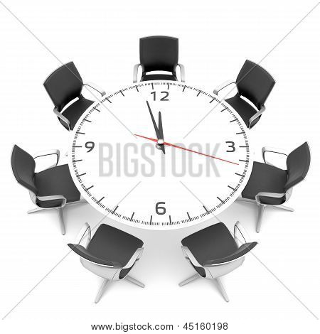 round table with a large clock face