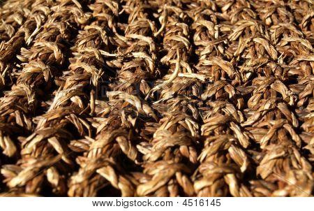 Close Up Shot Of Straw Mat