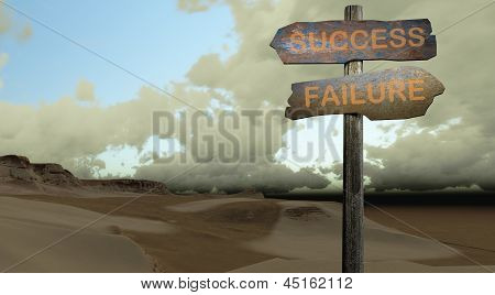 sign direction SUCCESS-FAILURE made in 3d software poster