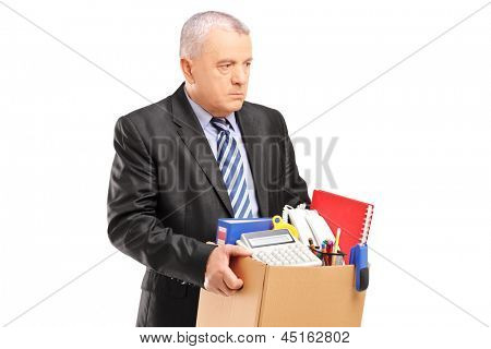A fired professional man with a box of belongings, isolated on white background