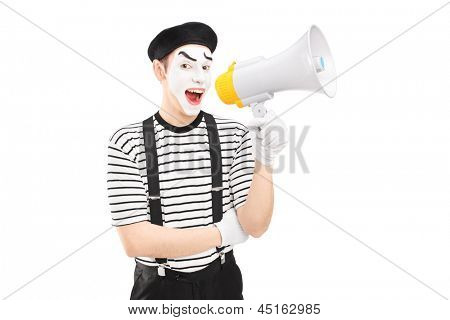 A male mime artist holding a loudspeaker and looking at camera isolated on white background