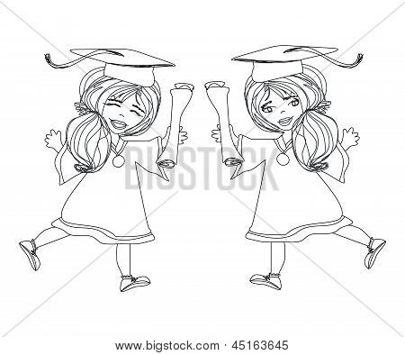 Girl Smiling Celebrating Graduation Day Holding Diploma In Her Hand