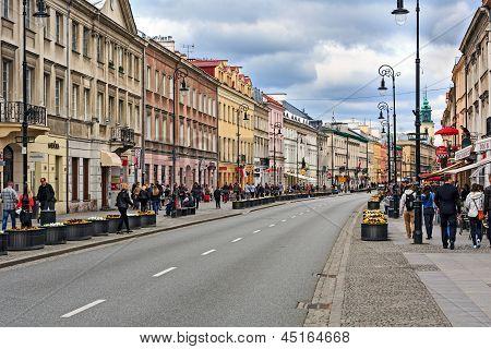 Nowy Swiat Street In Warsaw, Poland