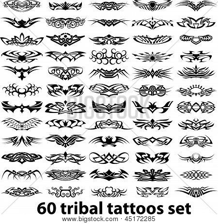 60 Tribal Tattoo Set.eps